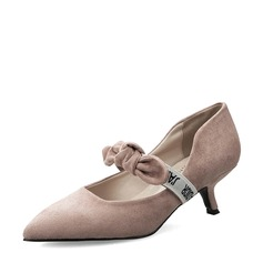 Women's Suede Kitten Heel Pumps Closed Toe With Bowknot shoes