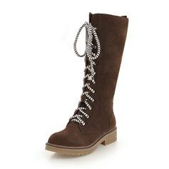 Vrouwen Suede Low Heel Closed Toe Laarzen Knie Lengte Laarzen Martin Boots met Vastrijgen schoenen