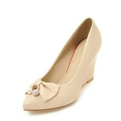 Frauen PU Keil Absatz Absatzschuhe Geschlossene Zehe Keile mit Bowknot Schuhe