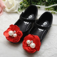 Girl's Leatherette Flat Heel Round Toe Mary Jane Flats With Imitation Pearl Satin Flower Velcro Crystal (207112417)