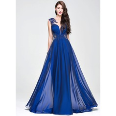 A-Line/Princess Scoop Neck Sweep Train Chiffon Prom Dress With Ruffle Beading Appliques Lace Sequins (018081668)
