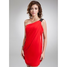 Forme Fourreau Encolure asymétrique Court/Mini Mousseline Robe de cocktail avec Ceintures
