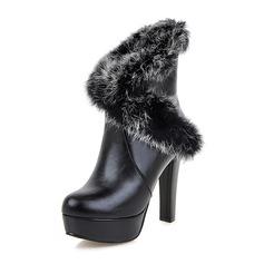 Mulheres Couro PU Salto agulha Bombas Plataforma Botas sapatos