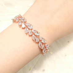 Ladies' Leaves Shaped Copper/Zircon Bracelets