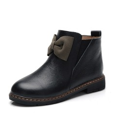 Girl's Real Leather Flat Heel Closed Toe Ankle Boots Boots With Bowknot Zipper