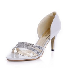 Patent Leather Stiletto Heel Sandals Pumps With Rhinestone shoes