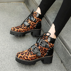 Women's PU Chunky Heel Ankle Boots With Rivet Buckle Lace-up shoes