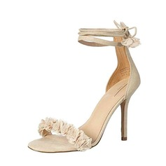 Women's Real Leather Stiletto Heel Peep Toe Sandals Beach Wedding Shoes With Flower