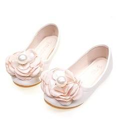 Round Toe Closed Toe Leatherette Sparkling Glitter Microfiber Leather Flat Heel Flats Flower Girl Shoes With Flower Pearl