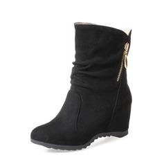 Frauen Veloursleder Keil Absatz Keile Stiefelette mit Reißverschluss Schuhe