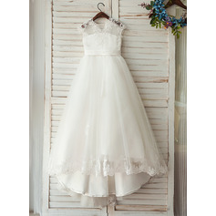 A-Line/Princess Sweep Train Flower Girl Dress - Tulle/Lace Sleeveless V-neck With Sash (010122564)