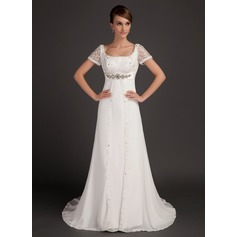 A-Line/Princess Scoop Neck Court Train Chiffon Wedding Dress With Lace Beading