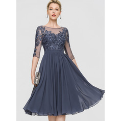 A-Line Scoop Neck Knee-Length Chiffon Cocktail Dress With Sequins (016197203)
