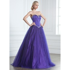 Ball-Gown Sweetheart Floor-Length Tulle Prom Dress With Beading (018135550)