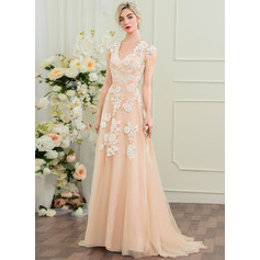 A-Line/Princess V-neck Sweep Train Tulle Lace Wedding Dress (002110618)