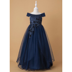 Ball-Gown/Princess Floor-length Flower Girl Dress - Tulle/Lace Sleeveless Off-the-Shoulder With Beading/Flower(s) (010211906)