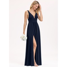 Empire V-neck Floor-Length Jersey Bridesmaid Dress With Ruffle Split Front (007206451)