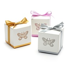 Butterfly Laser-cut Cuboid Favor Boxes With Ribbons