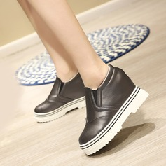 Women's Leatherette Flat Heel Closed Toe Wedges With Split Joint shoes