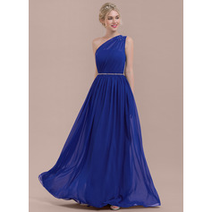 A-Line One-Shoulder Floor-Length Chiffon Bridesmaid Dress With Ruffle Beading Sequins