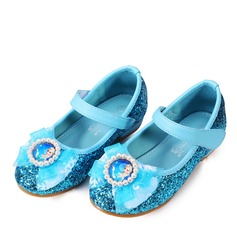 Girl's Round Toe Closed Toe Leatherette Sparkling Glitter Flats With Bowknot Velcro