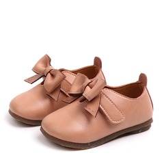 Girl's Round Toe Closed Toe Microfiber Leather Flat Heel Flats Flower Girl Shoes With Bowknot
