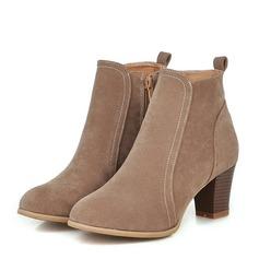 Kvinnor Mocka Tjockt Häl Pumps Stövlar Boots med Zipper skor