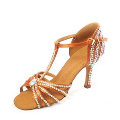 Women's Satin Heels Latin With Rhinestone Dance Shoes (053124176)