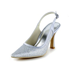 Women's Sparkling Glitter Spool Heel Closed Toe Pumps