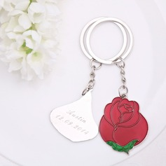 "Personalized ""Love is like a red rose"" Stainless Steel Keychains (Set of 2 pieces)"