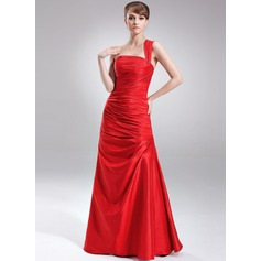 A-Line/Princess One-Shoulder Floor-Length Taffeta Holiday Dress With Ruffle