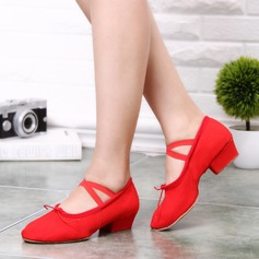 Women's Canvas Heels Ballet With Ankle Strap Dance Shoes