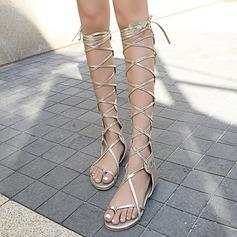 Donna Similpelle Senza tacco Sandalo Ballerine Punta aperta con Allacciato Cava-out scarpe