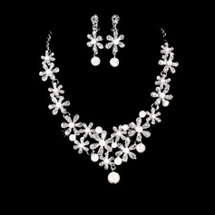 Flower Shaped Alloy/Rhinestones With Pearl Jewelry Sets
