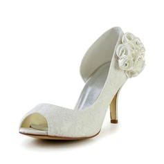 Women's Lace Stiletto Heel Peep Toe Pumps Sandals With Rhinestone Satin Flower