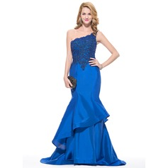 Trumpet/Mermaid One-Shoulder Sweep Train Taffeta Prom Dresses With Beading Appliques Lace Sequins Cascading Ruffles