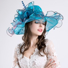 Ladies' Glamourous Cotton/Net Yarn With Silk Flower Floppy Hat/Kentucky Derby Hats (196118622)