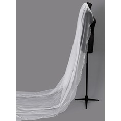 One-tier Beaded Edge Cathedral Bridal Veils With Faux Pearl