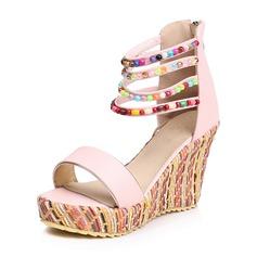 Vrouwen Kunstleer Wedge Heel Sandalen Wedges met Strass schoenen