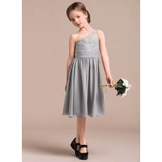 A-Line One-Shoulder Knee-Length Chiffon Lace Junior Bridesmaid Dress