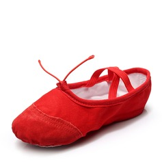 Kids' Canvas Flats Ballet Belly With Lace-up Dance Shoes