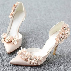 Women's Leatherette Stiletto Heel Pumps With Flower