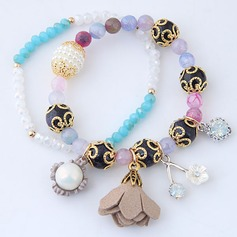 Beautiful Alloy Resin Women's Fashion Bracelets (Set of 2)