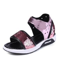 Girl's Peep Toe Leatherette Flat Heel Sandals Flats Flower Girl Shoes With Sequin Velcro