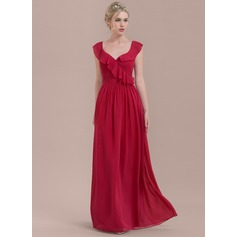 A-Line/Princess Floor-Length Chiffon Bridesmaid Dress With Bow(s) Cascading Ruffles