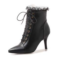 Women's Leatherette Stiletto Heel Pumps Boots Ankle Boots Martin Boots With Ruched Lace-up shoes (088175350)