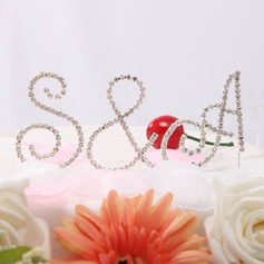 Bride & Groom's Initials Chrome Wedding Cake Topper