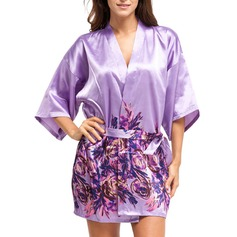 Bride Bridesmaid Polyester With Short Floral Robes (248150352)