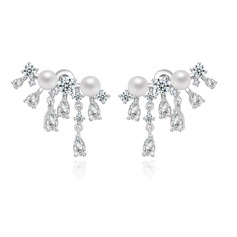 Elegant Copper/Zircon/Platinum Plated Ladies' Earrings
