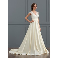 Ball-Gown V-neck Court Train Satin Wedding Dress With Ruffle (002127251)